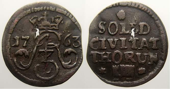 Schilling 1763 Thorn August III 1733-1763. Durchgehender Schrötlingsfehler. Sehr schön+