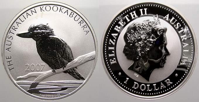 1 Dollar (Kookaburra) 2007 Australien Elizabeth II. seit 1952. Stempelglanz