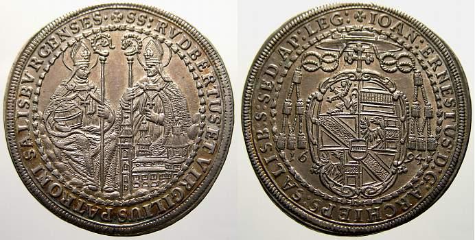 1/2 Taler 1694 Salzburg, Erzbistum Johann Ernst von Thun und Hohenstein 1687-1709. Fast stempelglanz-stempelglanz