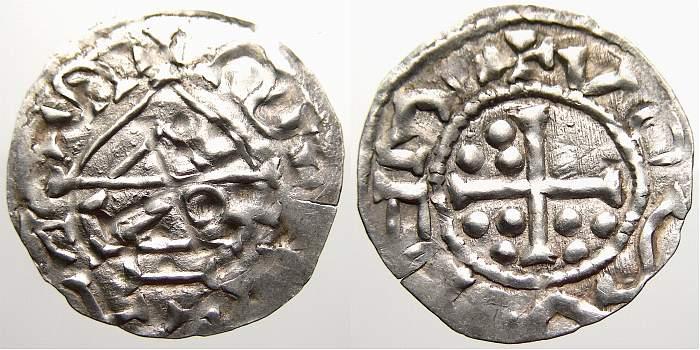 Denar 955-976 n. Chr. Regensburg, herzogliche Münzstätte Heinrich II., der Friedfertige, 1. Regierung 955-976. Sehr selten. Kl. Prüfschnitt, sonst fast vorzüglich
