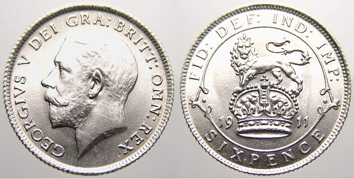 6 Pence 1911 Großbritannien George V. 1910-1936. Stempelglanz