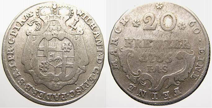 20 Kreuzer 1766 Paderborn, Bistum Wilhelm Anton von Asseburg 1763-1782. Fast sehr schön