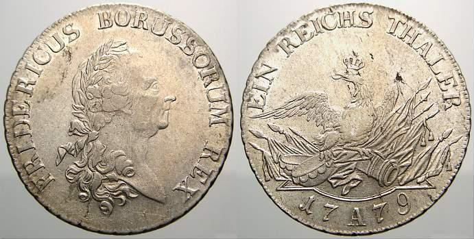 Taler 1779 A Brandenburg-Preußen Friedrich II. 1740-1786. Min. Schrötlingsfehler. Fast vorzüglich