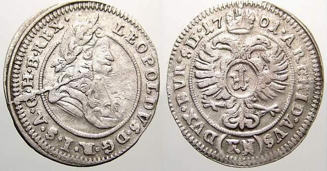 1 Kreuzer 1701 FN Schlesien-Der oberste Lehnsherr Leopold 1658-1705. Selten. Sehr schön+ mit Prägeglanz