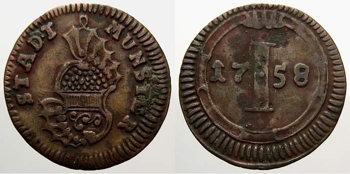 Cu Pfennig 1758 Münster, Stadt Sehr schön