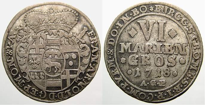 6 Mariengroschen 1718 Münster, Bistum Franz Arnold von Metternich 1706-1718. Sehr schön+