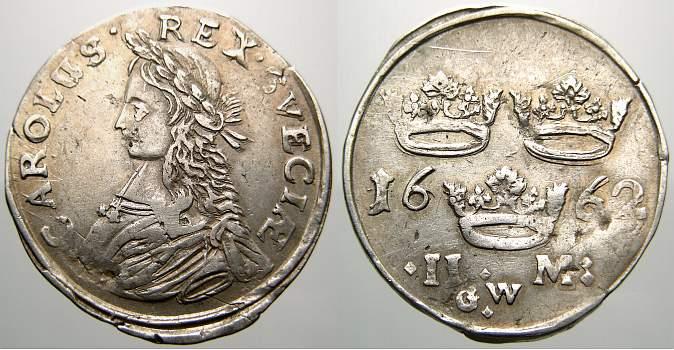 2 Mark 1662 GW Schweden Karl XI. 1660-1697. Besserer Jahrgang. Übl. Schrötlingsfehler, sehr schön+