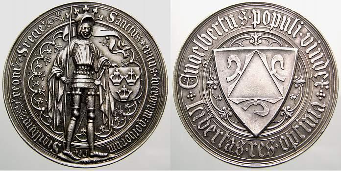Silbermedaille 1436 Schweden Engelbrekt Engelbrektsson. Viceroy 1435-1436. Vorzüglich