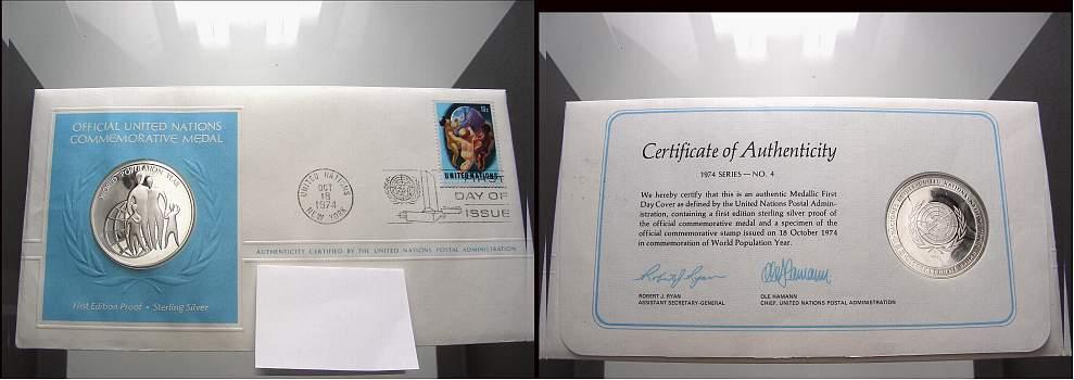 Silbermedaille 1974 United Nations Medaillen-Ersttagsbriefe. Polierte Platte