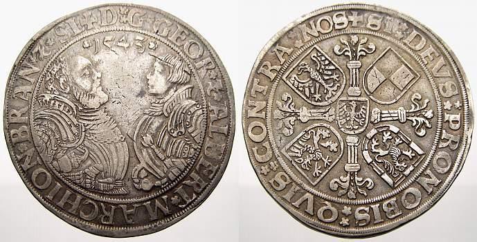 Taler 1543 Brandenburg-Franken Georg und Albrecht 1527-1543. Min. Kratzer. Sehr schön+ mit leichter Patina