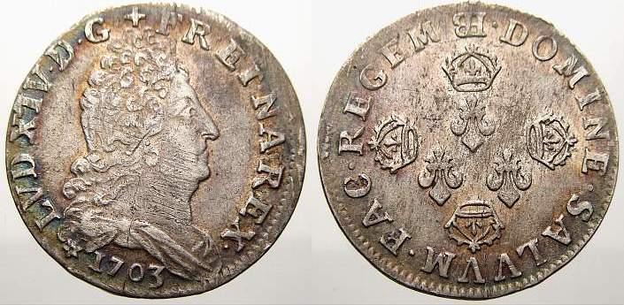 10 Sols aux 4 couronnes 1703 BB Frankreich Ludwig XIV. 1643-1715. Min. Schrötlingsfehler. Fast vorzüglich mit Prägeglanz!