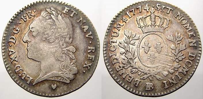 1/5 écu à la vieille tête 177 1774 BB Frankreich Ludwig XV. 1715-1774. Sehr schön-vorzüglich mit Prägeglanz!