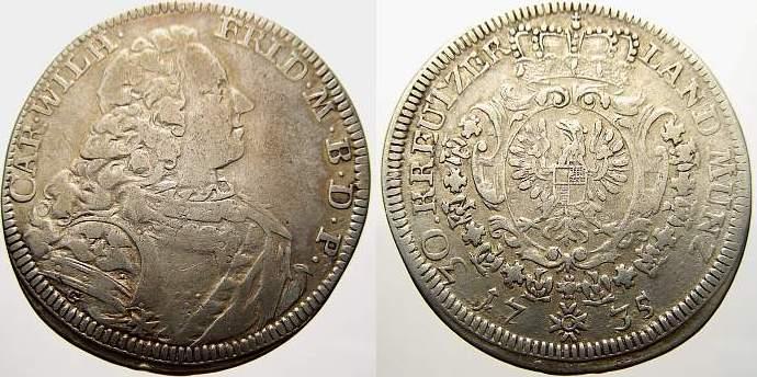 30 Kreuzer 1735 Brandenburg-Ansbach Karl Wilhelm Friedrich 1729-1757. Sehr schön