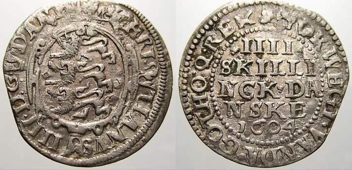 4 Skilling 1604 Dänemark Christian IV. 1588-1648. Schrötlingsfehler am Rand. Sehr schön