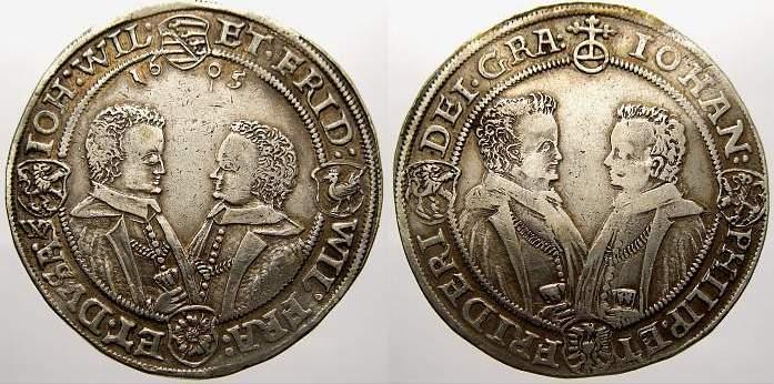 Taler 1605 Sachsen-Altenburg Johann Philipp und seine drei Brüder 1603-1625. Attraktives Exemplar. Sehr schön-vorzüglich mit schöner Patina und Prä