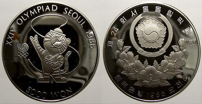5000 Won 1986 Korea Volksrepublik seit 1948. Polierte Platte
