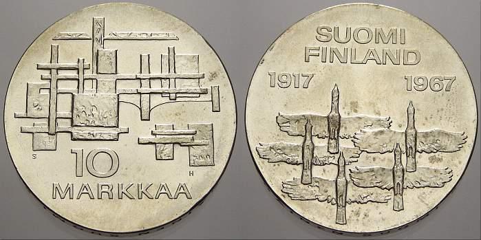 10 Markkaa 1967 F Finnland Republik seit 1918. Stempelglanz