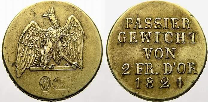 Passiergewicht zu 2 Friedrichs d'or 1821 Brandenburg-Preußen Friedrich Wilhelm III. 1797-1840. Min. Randfehler, fast vorzüglich