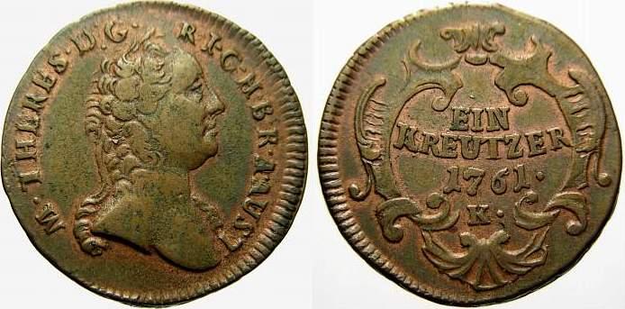 Kreuzer 1761 K Haus Habsburg Maria Theresia 1740-1780. Selten. Sehr schön+