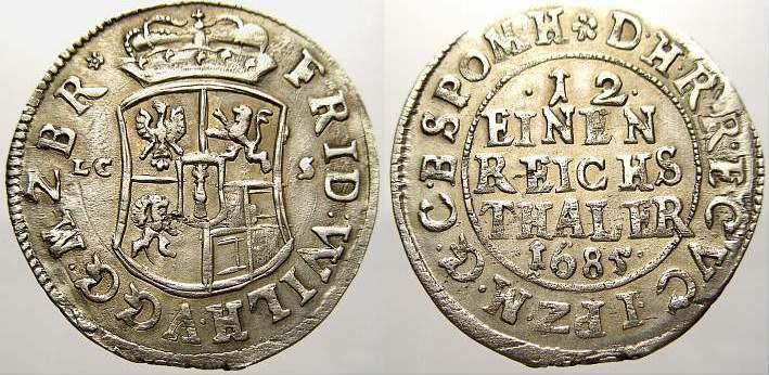 1/12 Taler 1685 Brandenburg-Preußen Friedrich Wilhelm, der Große Kurfürst 1640-1688. Kl. Schrötlingsfehler, vorzüglich mit Prägeglanz!