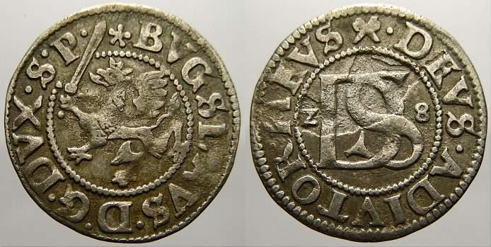 Doppelschilling 1628 Pommern-nach der Vereinigung Bogislaw XIV. 1620-1637. Kl. Schrötlingsfehler. Sehr schön