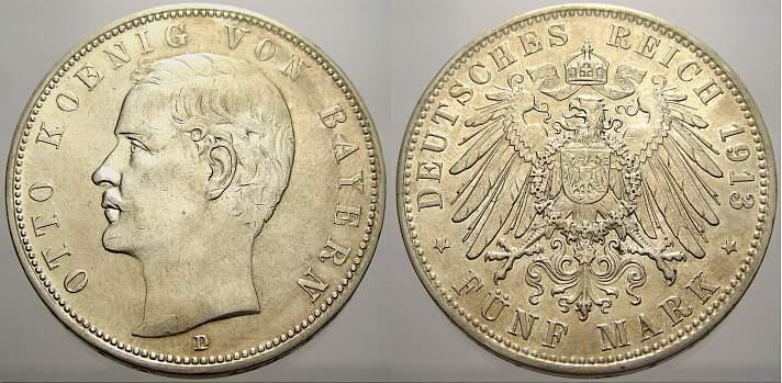 5 Mark 1913 D Bayern Otto 1886-1913. Vorzüglich-prägefrisch