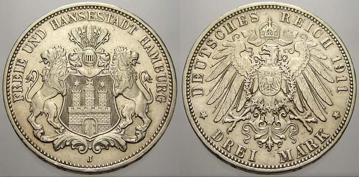 3 Mark 1911 J Hamburg Kl. Randfehler, sehr schön+