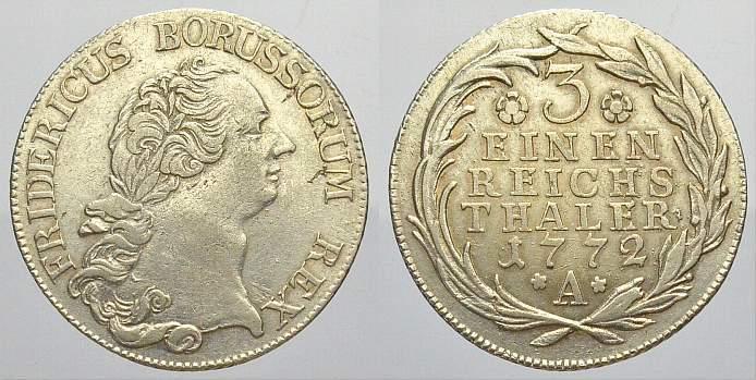1/3 Taler 1772 A Brandenburg-Preußen Friedrich II. 1740-1786. Winz. Schrötlingsfehler. Fast vorzüglich