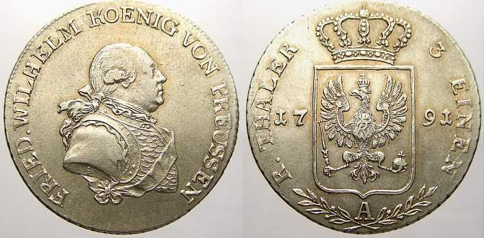 1/3 Taler 1791 A Brandenburg-Preußen Friedrich Wilhelm II. 1786-1797. Seltener Jahrgang. Fast vorzüglich