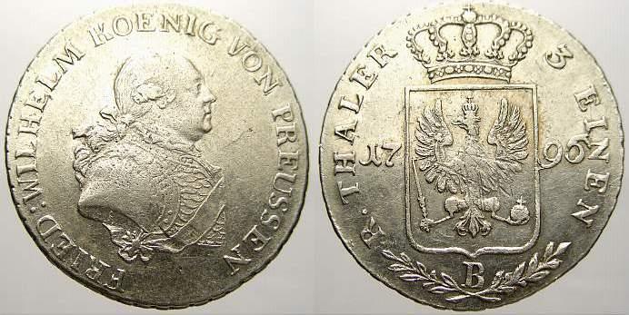 1/3 Taler 1796 B Brandenburg-Preußen Friedrich Wilhelm II. 1786-1797. Seltener Jahrgang. Sehr schön+