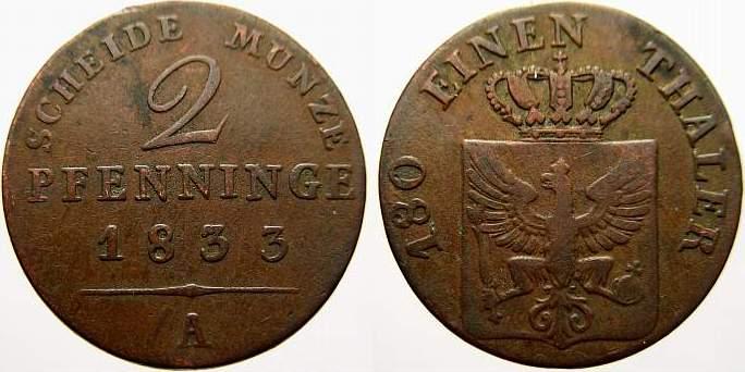 Cu 2 Pfennige 1833 A Brandenburg-Preußen Friedrich Wilhelm III. 1797-1840. Sehr schön