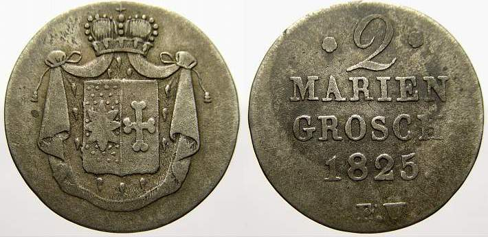 2 Mariengroschen 1825 FW Waldeck Georg Heinrich 1813-1845. Sehr schön