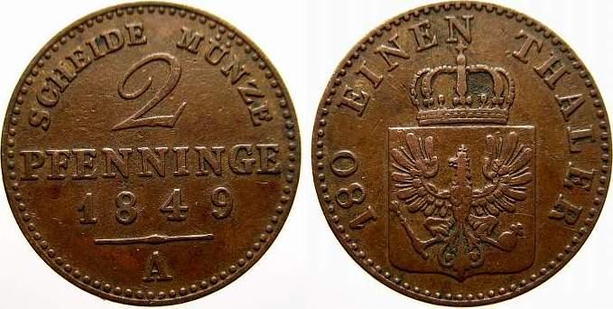 Cu 2 Pfennige 1849 A Brandenburg-Preußen Friedrich Wilhelm IV. 1840-1861. Sehr schön+