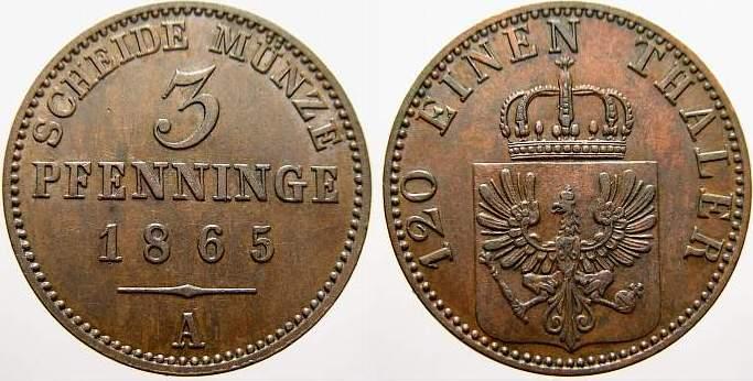 Cu 3 Pfennige 1865 A Brandenburg-Preußen Wilhelm I. 1861-1888. Vorzüglich