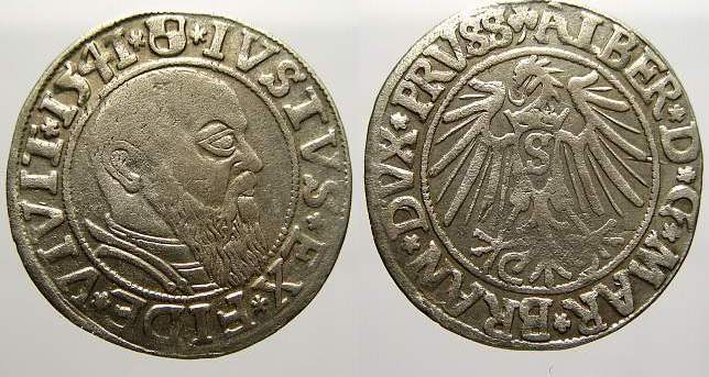 Groschen 1541 Preußen, Herzogtum (Ostpreußen) Albrecht von Brandenburg 1525-1568. Sehr schön