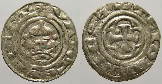 Denar 1187-1220 Pommern Bogislaw II. und Kasimir II. 1187-1220. Von größter Seltenheit. Voll zentriert und lesbar. Vorzüglich