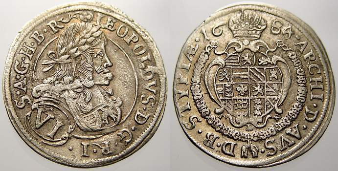 6 Kreuzer 1684 Haus Habsburg Leopold I. 1658-1705. Sehr schön+