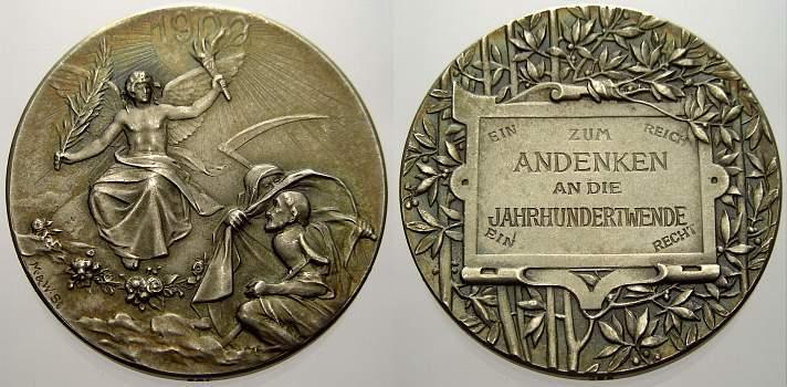 Silbermedaille 1900 Kalender- und Neujahrsmedaillen Vorzüglich