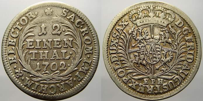 1/12 Taler (Doppelgroschen) 1702 Sachsen-Albertinische Linie Friedrich August I. 1694-1733, , 1697 König von Polen. Sehr schön-vorzüglich
