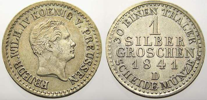 1 Silbergroschen 1841 D Brandenburg-Preußen Friedrich Wilhelm IV. 1840-1861. Sehr schön+