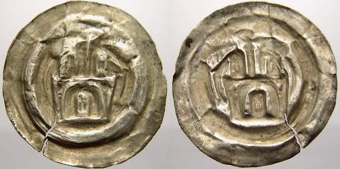 Brakteat 1156-1190 Sachsen-Meißen, markgräflich wettinische Mzst. Otto der Reiche 1156-1190. Sehr selten. Kl. Schrötlingsriss, fast sehr schön