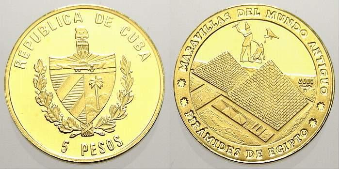 5 Pesos (Gold) 2005 Kuba Polierte Platte