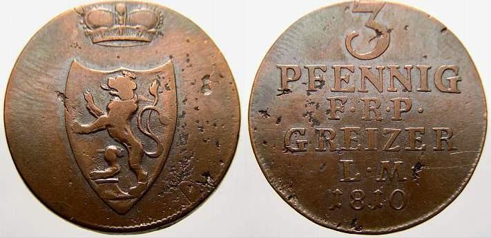 Cu 3 Pfennig 1810 Reuss, ältere Linie zu Obergreiz Heinrich XIII. 1800-1817. Übl. Schrötlingsfehler, sehr schön