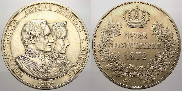 Doppeltaler 1872 B Sachsen-Albertinische Linie Johann 1854-1873. Vorzüglich-stempelglanz