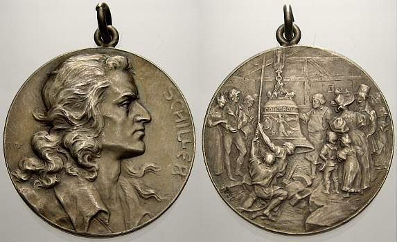 Silbermedaille Personenmedaillen Schiller, Friedrich von *1759, +1805, deutscher Dichter. Vorzüglich