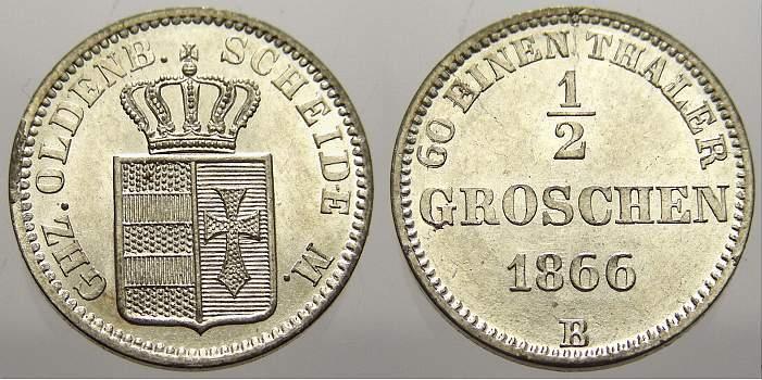 1/2 Groschen 1866 B Oldenburg Nicolaus Friedrich Peter 1853-1900. Kl. Schrötlingsfehler am Rand. Vorzüglich-stempelglanz