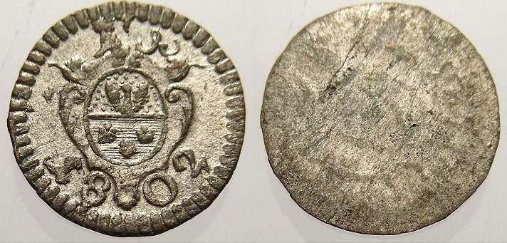 Einseitiger Pfennig 1802 Löwenstein-Wertheim-Rochefort Dominik Constantin 1789-1806. Vorzüglich
