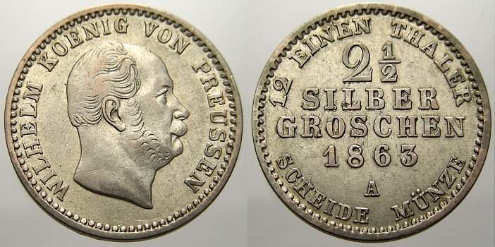 2 1/2 Silbergroschen 1863 A Brandenburg-Preußen Wilhelm I. 1861-1888. Sehr schön-vorzüglich