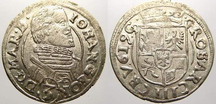 3 Kreuzer 1619 CP Schlesien-Jägerndorf Johann Georg von Brandenburg-Ansbach 1606-1621. Vorzüglich mit Prägeglanz!