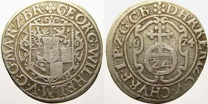 Groschen 1624 L Brandenburg-Preußen Georg Wilhelm 1619-1640. Sehr schön